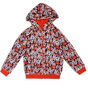 Minnie Mouse Red & Black Girls Hoodie. 4-6X
